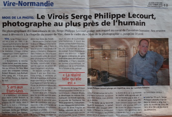 Article La voix le bocage 10 mars 2016 Serge Philippe Lecourt photographe au plus pres de l humain