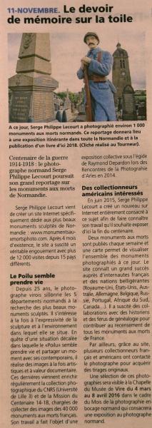 La Voix le Bocage-12 novembre 2015-Serge Philippe Lecourt-devoir de memoire sur la toile