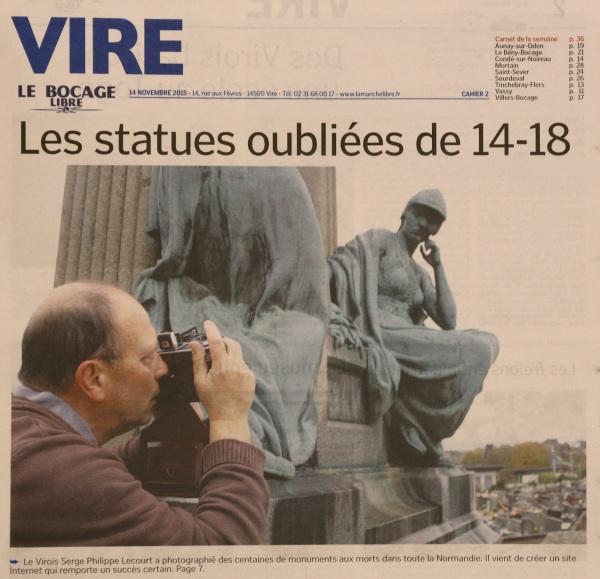 Vire le Bocage Libre-Une-2015-11-14-Serge Philippe Lecourt-statues oubliees de 14-18